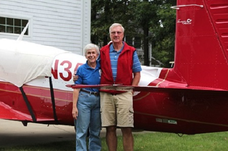 "Rae and Candie pose in front of their Mooney ""Missile"""