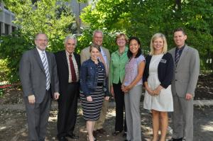 2014-2015 IPTeC Executive Committee with Roundtable Speakers (L to R) Craig Svensson, Nick Popovich, Tracy Sprunger, Steve Abel, Mary Graham, Jasmine Gonzalvo, Amy Heck Sheehan, and Darin Ramsey.