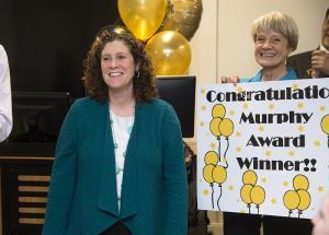 Kim Plake (left) with Janine Mott (Purdue University photo/Mark Simons)