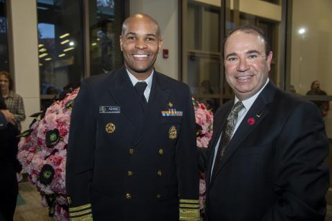 VADM Jerome M. Adams, U.S. Surgeon General and Dean Barker