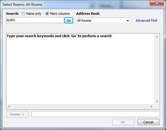 Dialog box showing searching for rooms