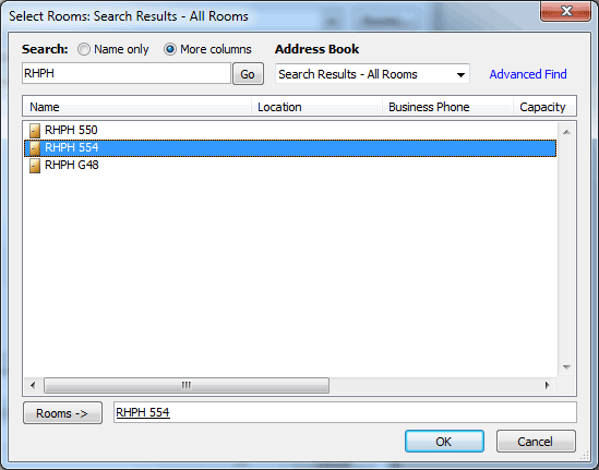Dialog box showing selecting a room