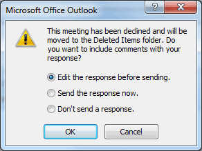 Dialog box showing declined-request response
