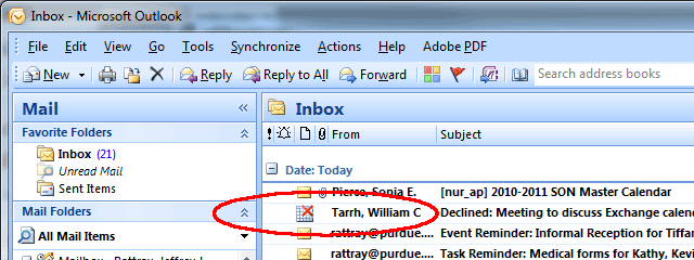Mail listing showing declined-meeting notification.