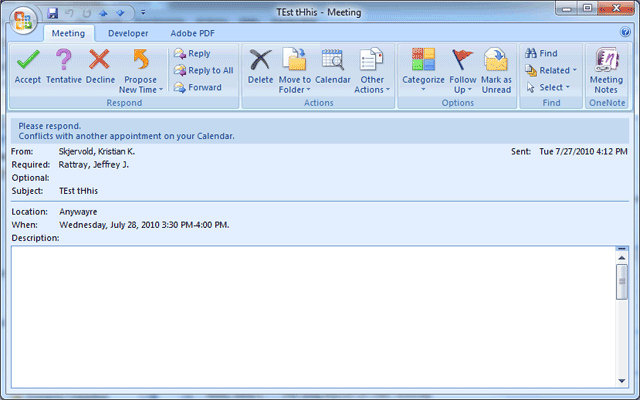 Dialog box showing meeting request