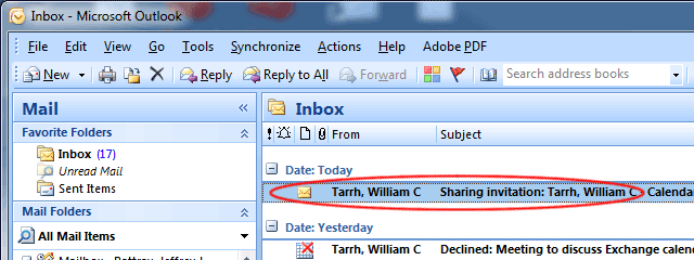 Mail showing calendar sharing invitation