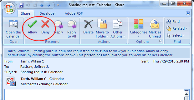 Dialog box showing mutual sharing request